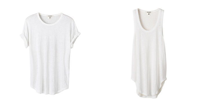 Isabel Marant pour H&M Favorites oversized white basic tank top tee t-shirt round low cut hem