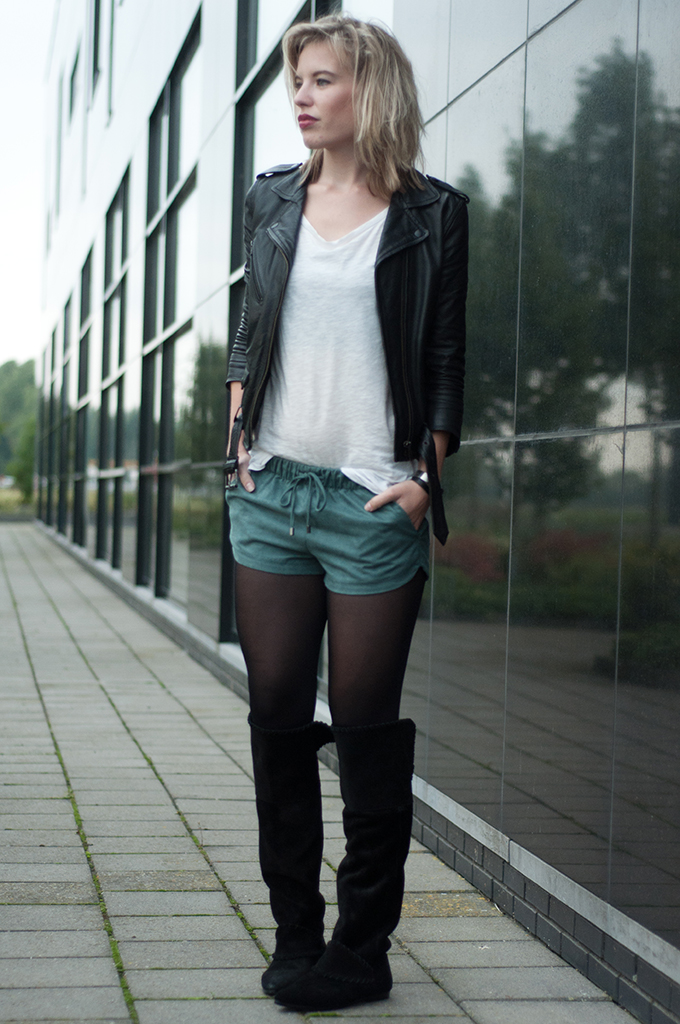 Red Reiding Hood: Fashion blogger wearing rock chic outfit model off duty look pop of blue drawstring shorts zara leather suede