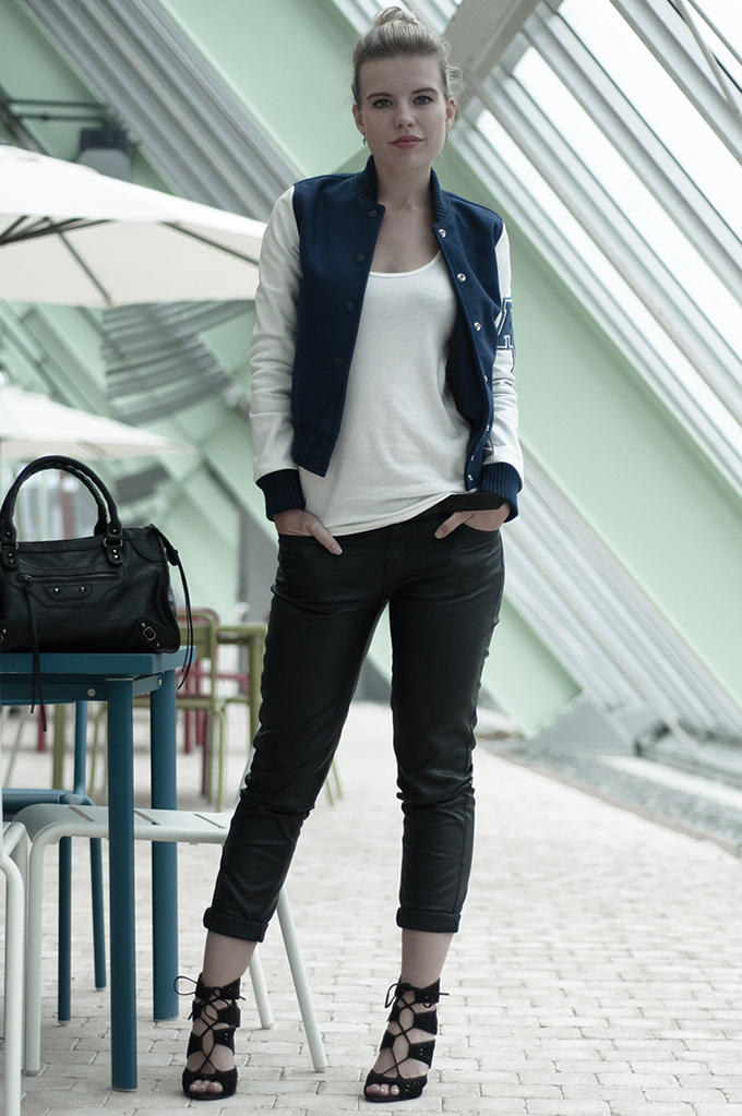 Fashion blogger wearing black faux leather pants Zara lace up sandals
