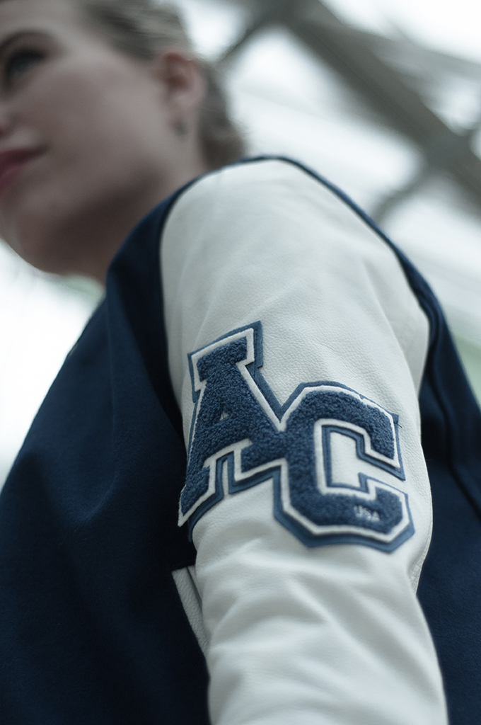 Leather sleeves American College AC jacket details wearing