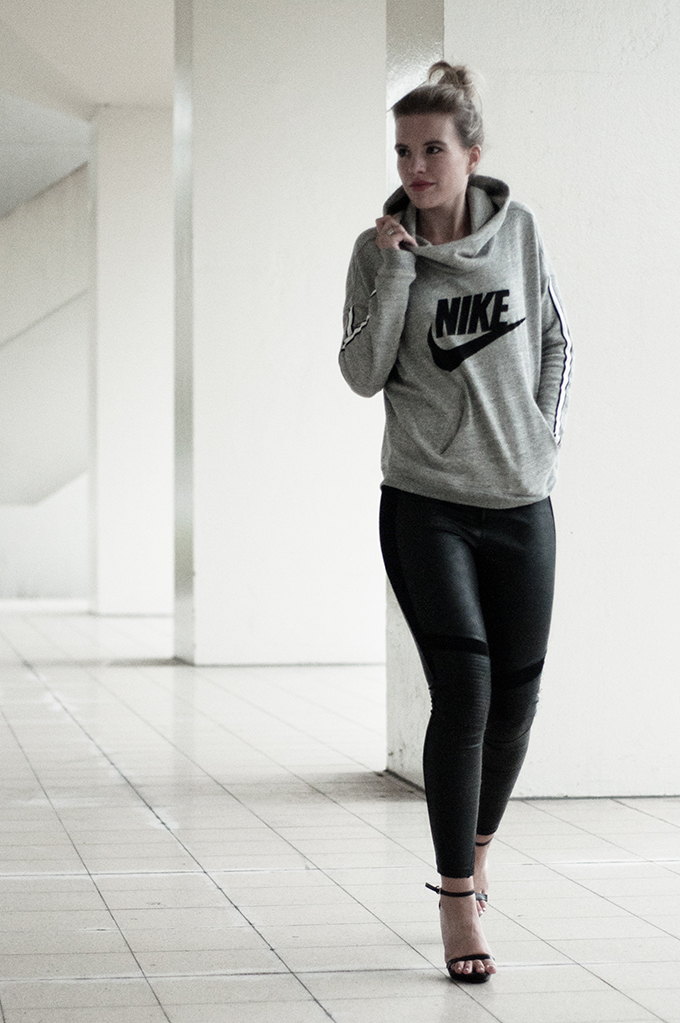 Streetstyle Nike sweater faux leather leggings dragon tattoo strappy sandals dark edgy COTTDS