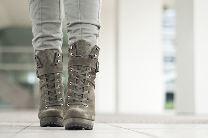 Olive kaki forest green heeled mountain boots invito schoenen