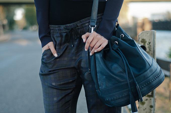 Fashion blogger wearing Joseph plaid pants