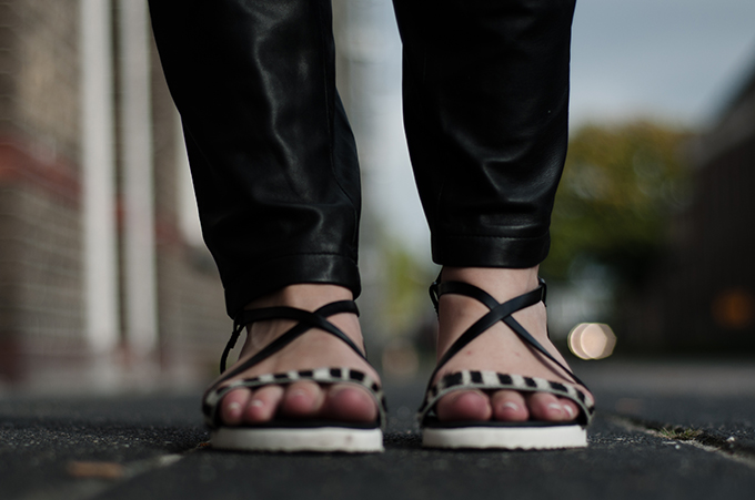 Red Reiding Hood: Sacha Shoes sandals zebra ponyhair leather tappered trousers details fashion blogger