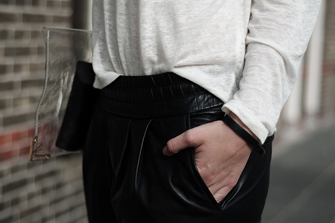 Red Reiding Hood: Fashion blogger model off duty outfit details easy comfy see through clutch