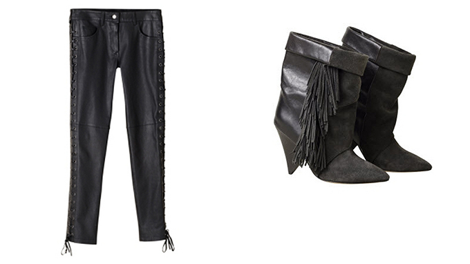 Isbael Marant pour H&M Favorites slouchy ankle boots leather pants lace sides