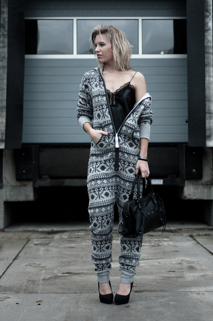 RED REIDING HOOD: Fashion blogger wearing onepiece onesie jumpsuit halli knitted leather lace top lingerie style heels celebrities streetstyle