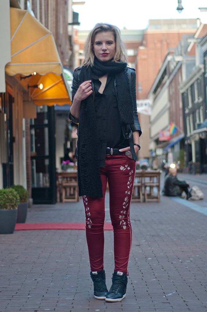 RED REIDING HOOD: Nelly NLY Trend embroidered pants isabel marant KO knock off leather jacket fashion blogger wearing