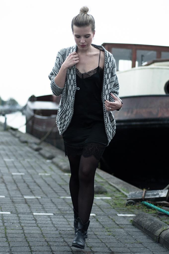 RED REIDING HOOD: Black satin lace inserts lingerie slip dress zara oversized knitted cardigan