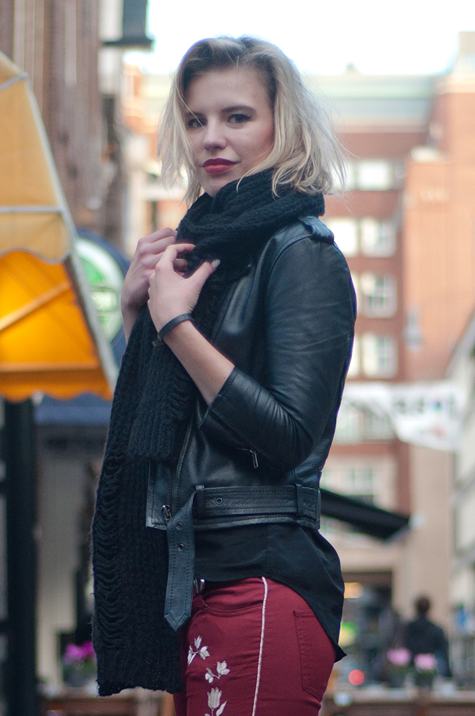 RED REIDING HOOD: Fashion blogger wearing red burgundy oxblood outfit leather jacket straps rock chick streetstyle