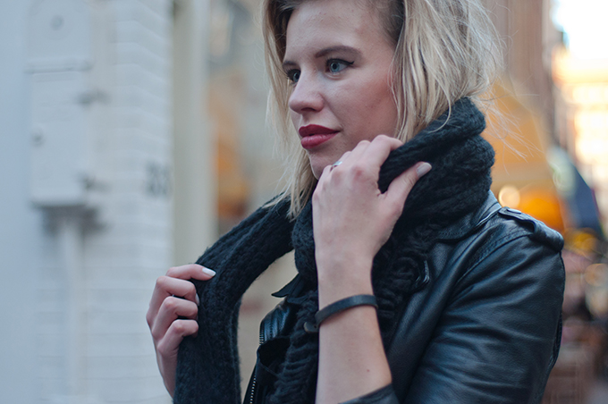 RED REIDING HOOD: Fashion blogger outfit details model off duty red lipstick messy hair don't care rock chick