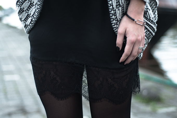 RED REIDING HOOD: Lace and knitwear outfit details lingerie slip dress knitted oversized cardigan zara streetstyle