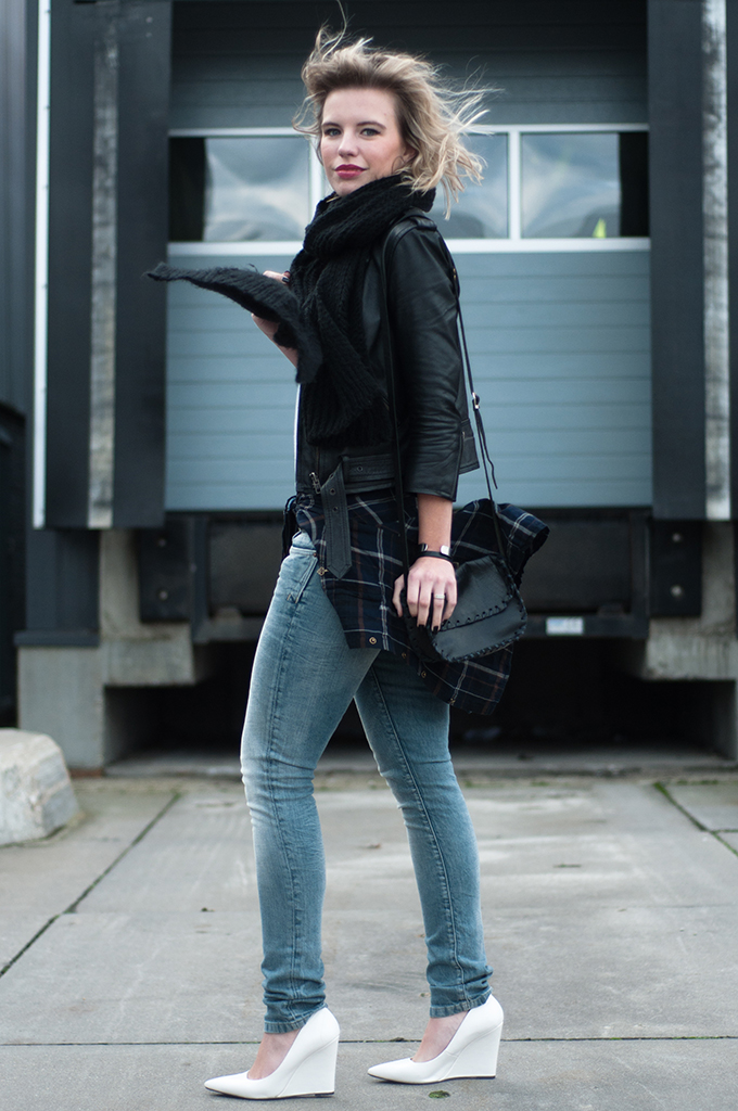 Blue and black jean jacket