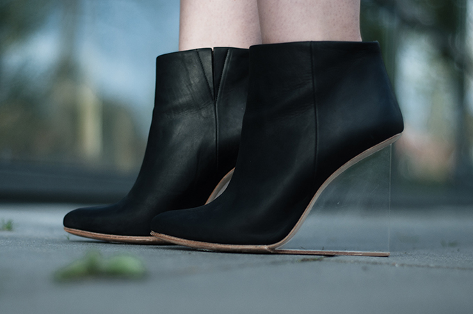 RED REIDING HOOD: perspex shoes black leather ankle boots maison martin margiela for H&M outfit details