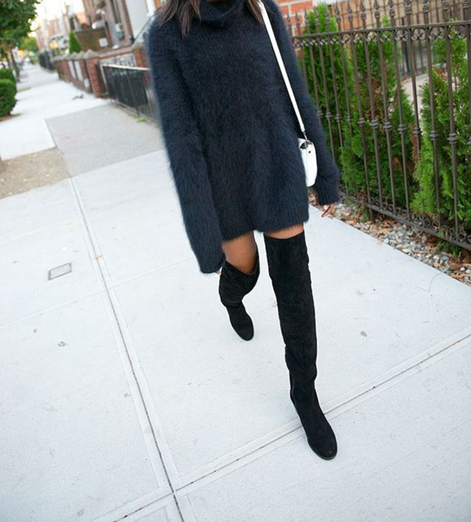 RED REIDING HOOD: Soft turtleneck sweater dress angora mohair oversized black suede thigh high boots over the knee shoes fashion inspiration outfit pinterest