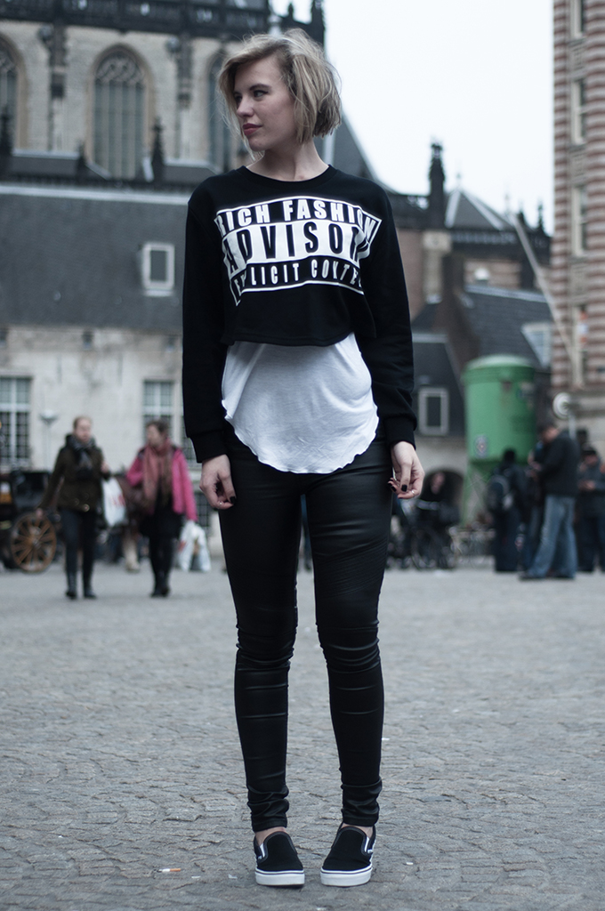 RED REIDING HOOD: Fashion blogger wearing cropped sweater layers black and white textures outfit faux leather biker pants vans slip ons alexander wang choies