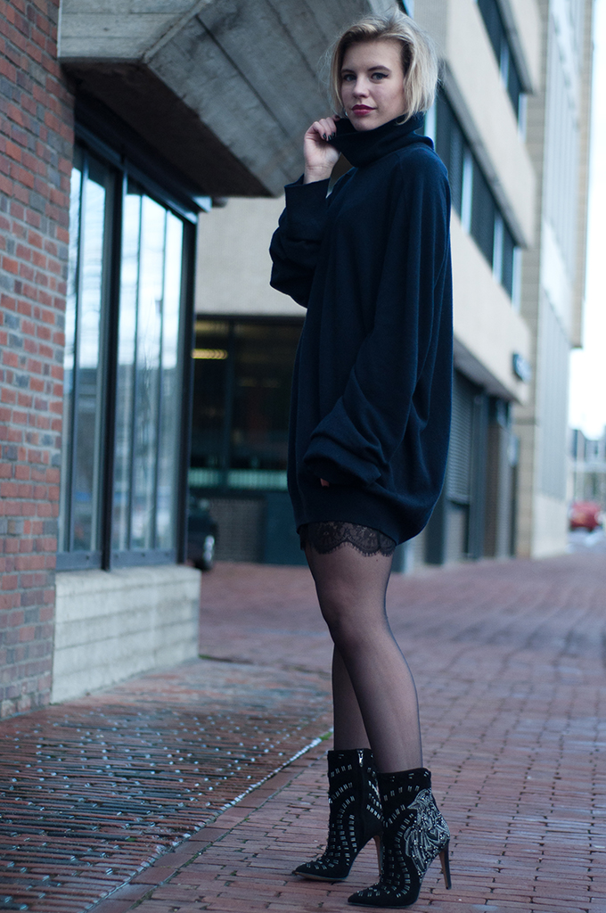 RED REIDING HOOD: Maison Martin Margiela for H&M turtleneck cashmere sweater dress Zara lace lingerie dress slip Sam Edelman ankle boots outfit