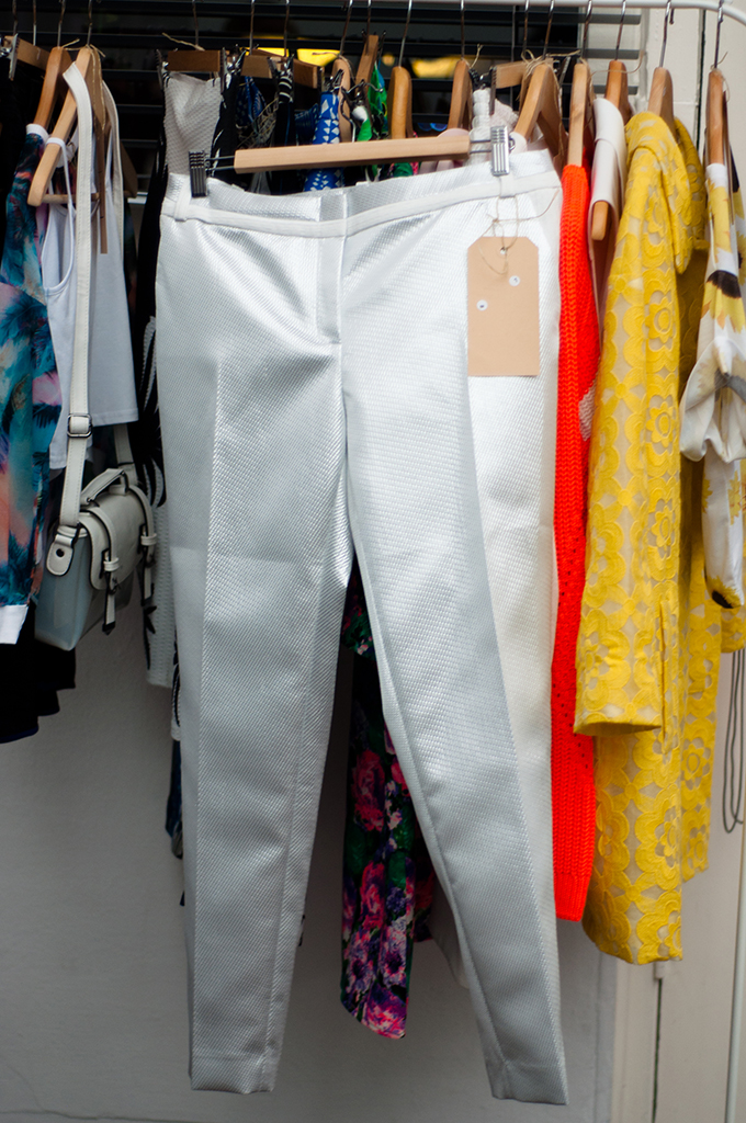 RED REIDING HOOD: Oona Welcome Days Press Days Amsterdam white satin shine shiney pants trousers