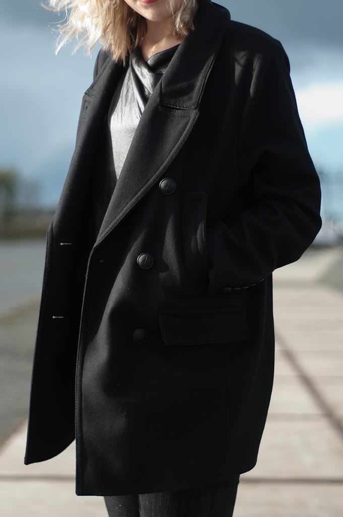 RED REIDING HOOD: Black woolen boyfriend coat DRYKORN Isabel Marant for H&M