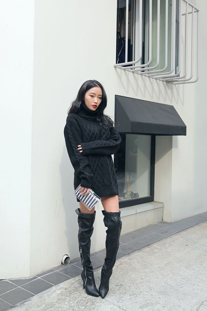 RED REIDING HOOD: All black everything outfit over the knee boots thigh high leather fashion inspiration