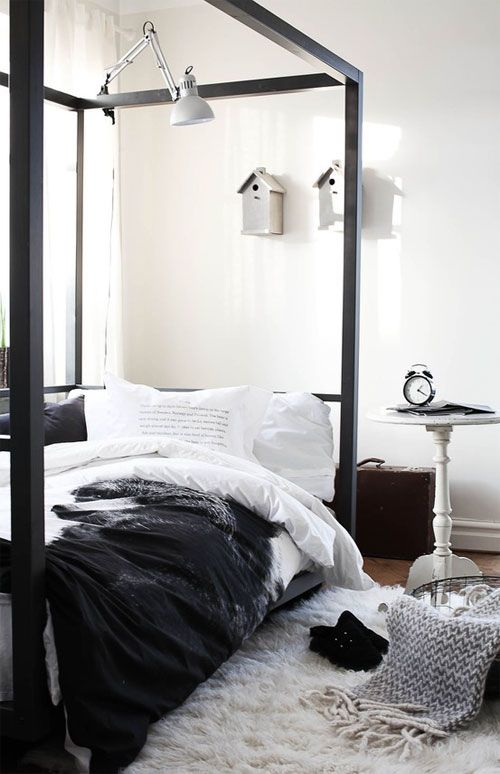 RED REIDING HOOD: Home inspiration scandinavian industrial black and white minimalistic bedroom cosy