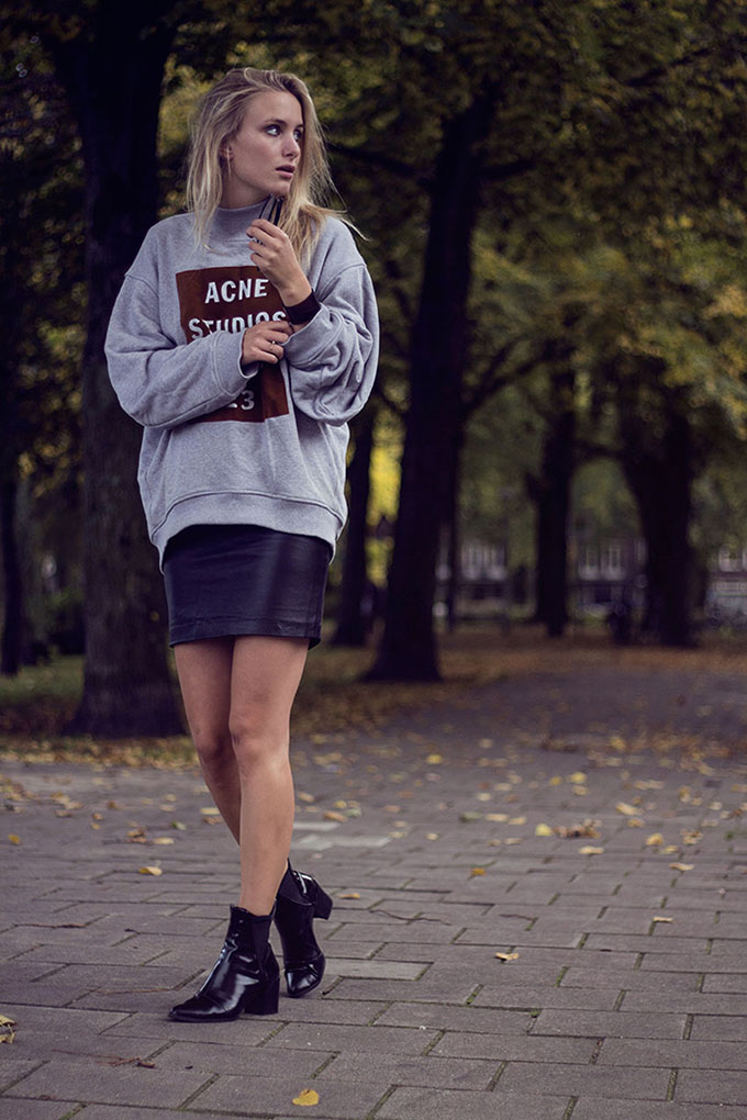 RED REIDING HOOD: ACNE sweater Rebecca Raspberry Rouge fashion inspiration bare legs Pinterest outfit