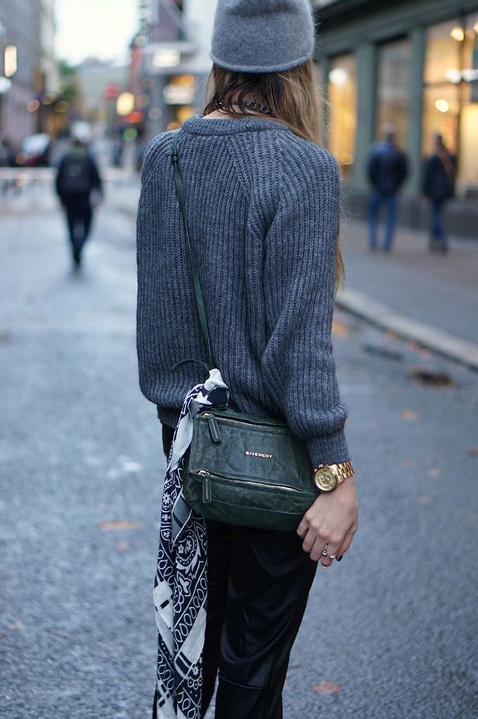 RED REIDING HOOD: Bandana wouind around bag all grey everything angora beanie fashion blogger streetstyle inspiration