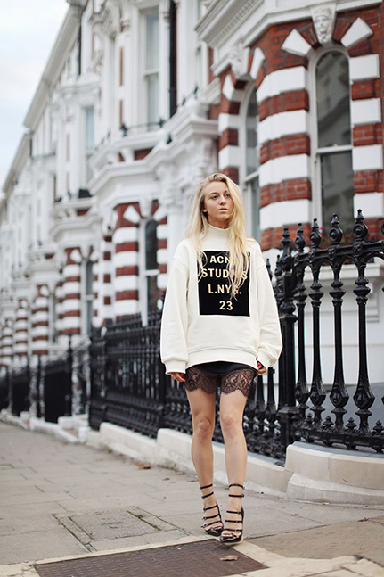 RED REIDING HOOD: 5 inch and up Sandra inspiration ACNE sweater ov ersized lace dress outfit fashion inspiration blogger look