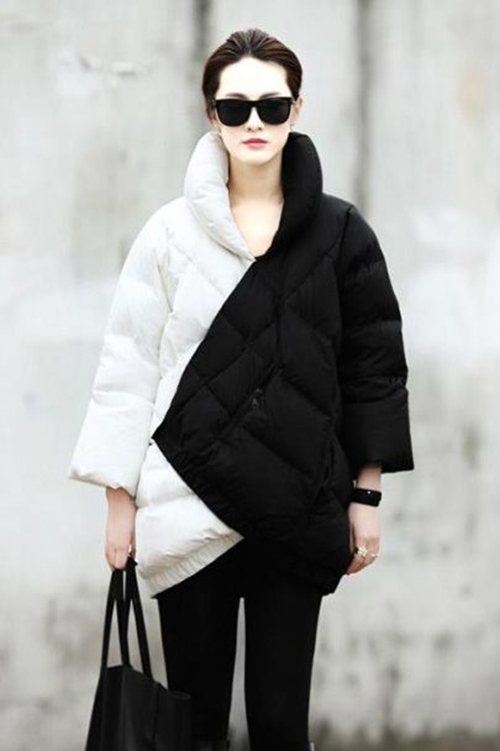 RED REIDING HOOD: Fashion blogger streetstyle model off duty wearing black and white outfit big padded coat