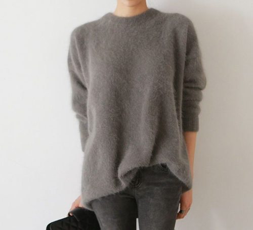 RED REIDING HOOD: Grey big fluffy angora mohair sweater turtleneck tucked in jeans streetstyle style outfit model off duty fashion blogger