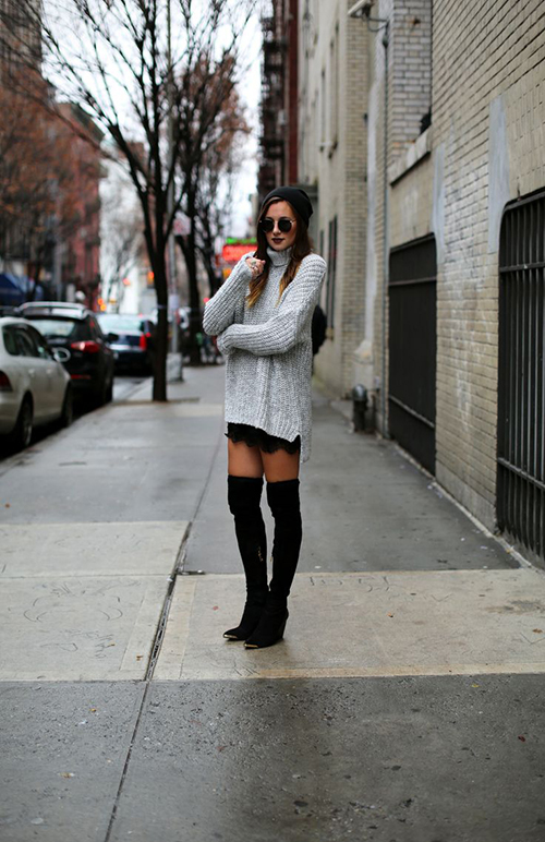 RED REIDING HOOD: We Wore What fashion blogger wearing oversized knitted turtleneck sweater over lace lingerie dress knee high boots streetstyle model off duty