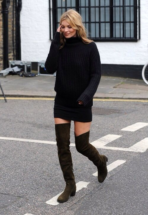 RED REIDING HOOD: Kate Moss model off duty look over the knee boots suede all black everything outfit streetstyle