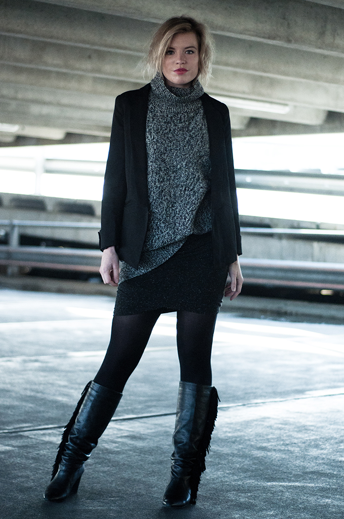 RED REIDING HOOD: Fashion blogger wearing perfect black blazer martofchina lindex knitted turtleneck sweater wrap skirt