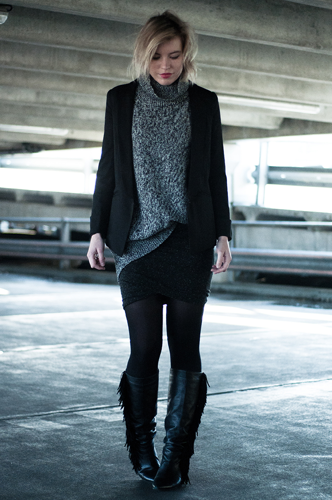 RED REIDING HOOD: Fashion blogger wearing knitted turtleneck sweater alexander wang wrap skirt modstrom fringe boots model off duty streetstyle