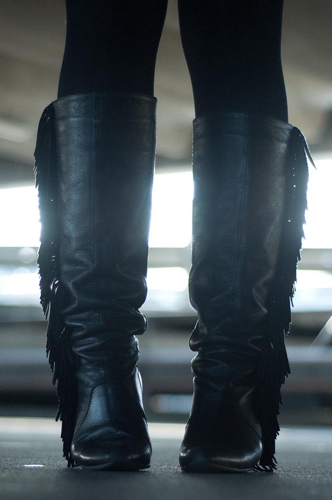 RED REIDING HOOD: Black leather fringe boots Sacha Shoes Isabel Marant Supertrash