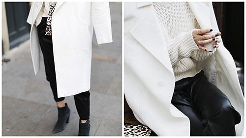 RED REIDING HOOD: Park&Cube white coat extra long black and white outfit