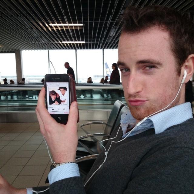 RED REIDING HOOD: Boyfriend handsome guy Schiphol Airport Amsterdam waiting listening music george michael wham