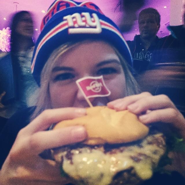 RED REIDING HOOD: Monster hamburger S.O.B. burger Hard Rock Café Helsinki massive big girl eating review instagram new era