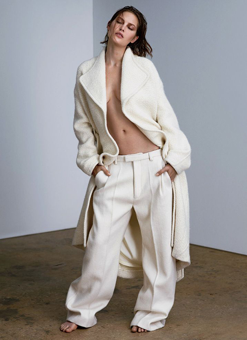 RED REIDING HOOD: Pinterest fashion inspiration editorial look celine slouchy suit pants white oversized coat
