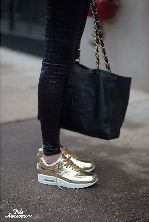 RED REIDING HOOD: Chanel bag leather pants Nike Air Max gold sneakers streetstyle model off duty fashion blogger inspiration