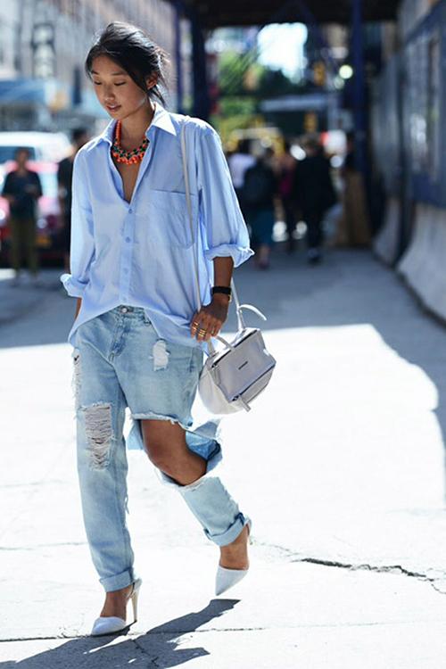 RED REIDING HOOD: Fashion inspiration streetstyle pinterest slashed ripped distressed baggy jeans blue oversized shirt denim on denim