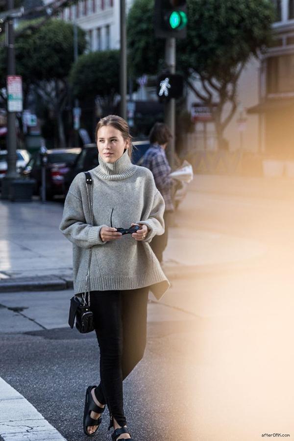 RED REIDING HOOD: My top 10 fashion blogs AfterDRK Sabrina Meijer Celine turtleneck Birkenstock Arizona sandals LA knitwear