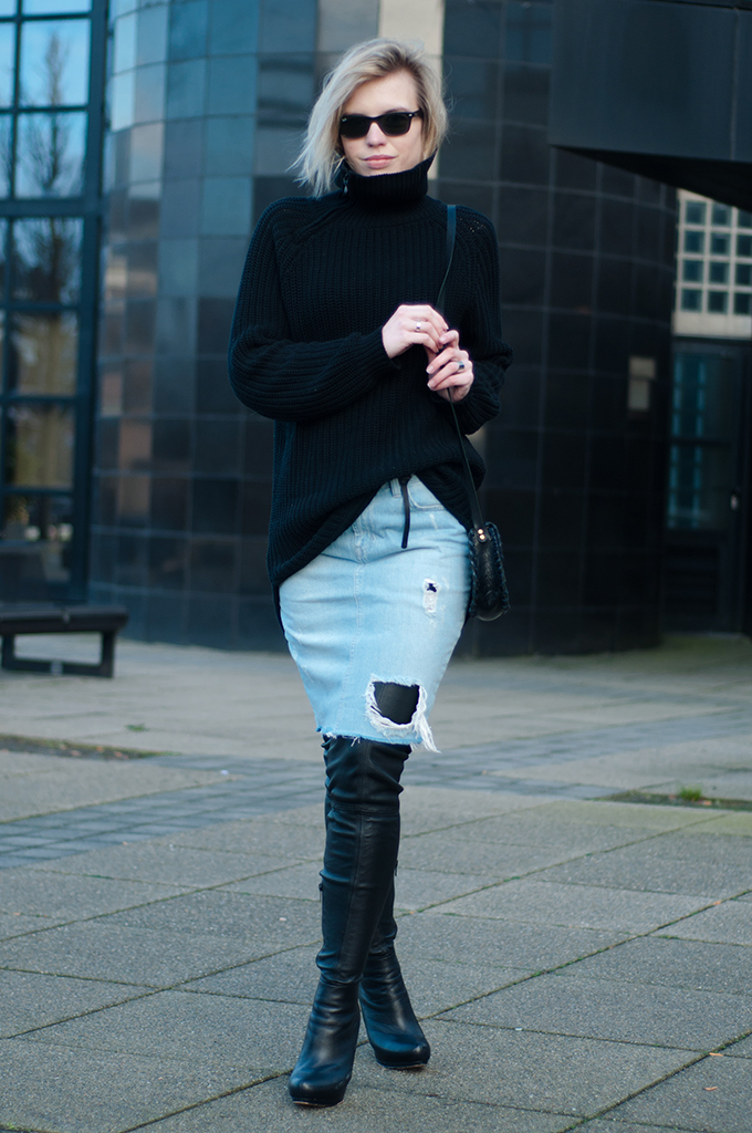 RED REIDING HOOD: Fashion blogger wearing little black cross body bag leather thigh high boots denim skirt turtleneck sweater model off duty outfit edgy