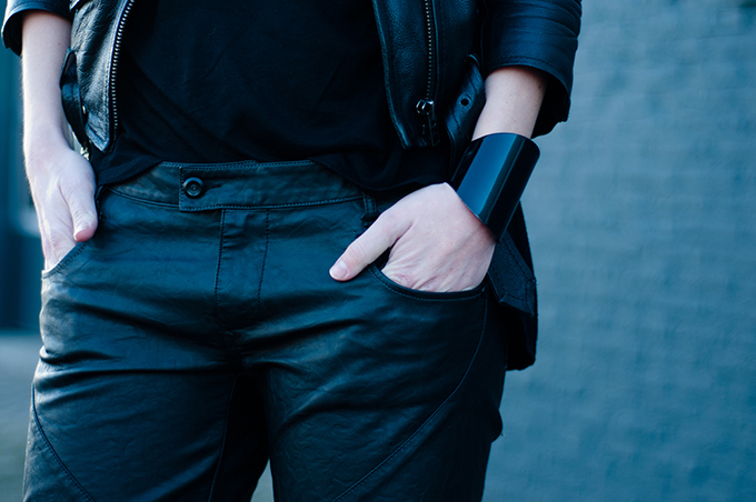 RED REIDING HOOD: All black everything outfit details model off duty streetstyle fashion blogger wearing leather pants jacket