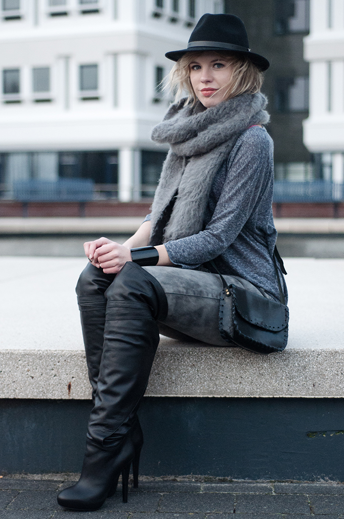 RED REIDING HOOD: Fashion blogger wearing and other stories wrap-around leather over-the-knee boots model off duty streetstyle