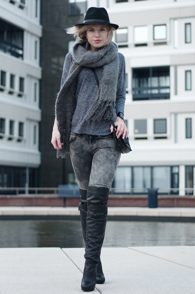 RED REIDING HOOD: Fashion blogger wearing all grey outfit ultra fluffy scarf ASOS lierys hat over the knee boots
