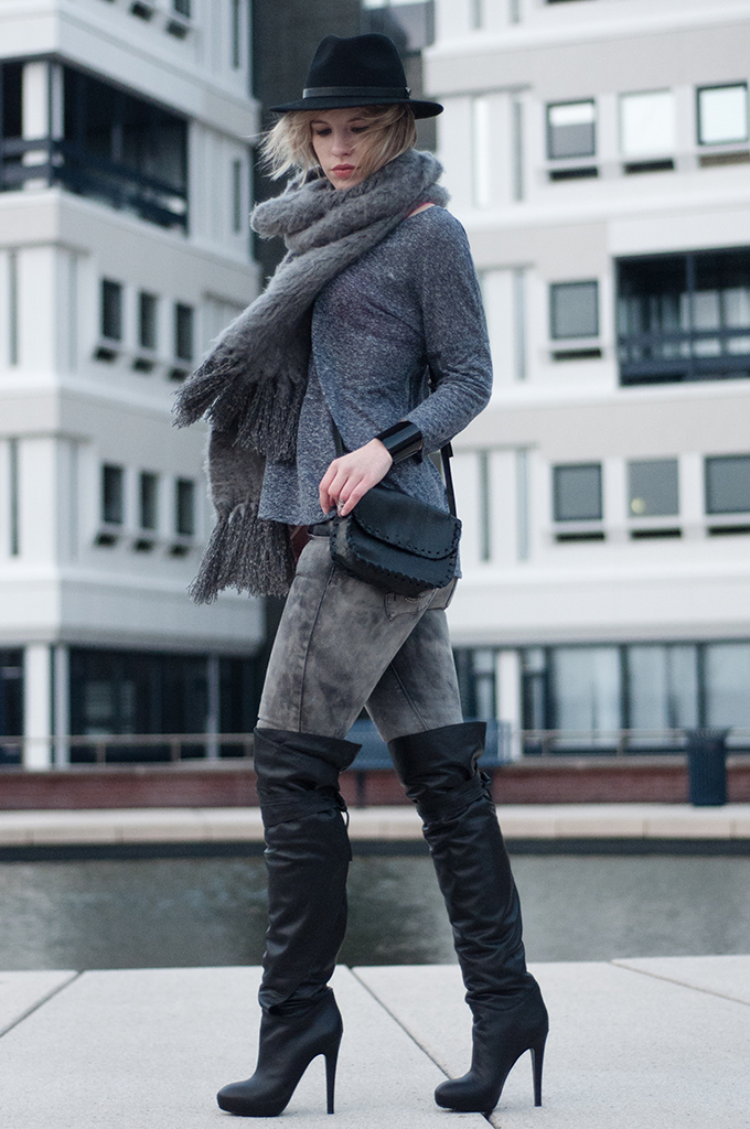 RED REIDING HOOD: Streetstyle over-the-knee boots and other stories thigh high boots grey ton sur ton outfit lierys hat