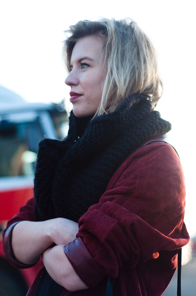RED REIDING HOOD: Double burgundy outfit details fashion blogger model off duty