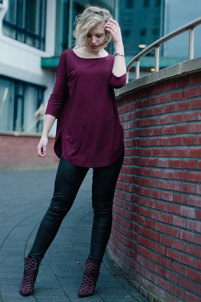 RED REIDING HOOD: Fashion blogger wearing black leather pants CoolCat oxblood burgundy COS top Sam Edelman shoes