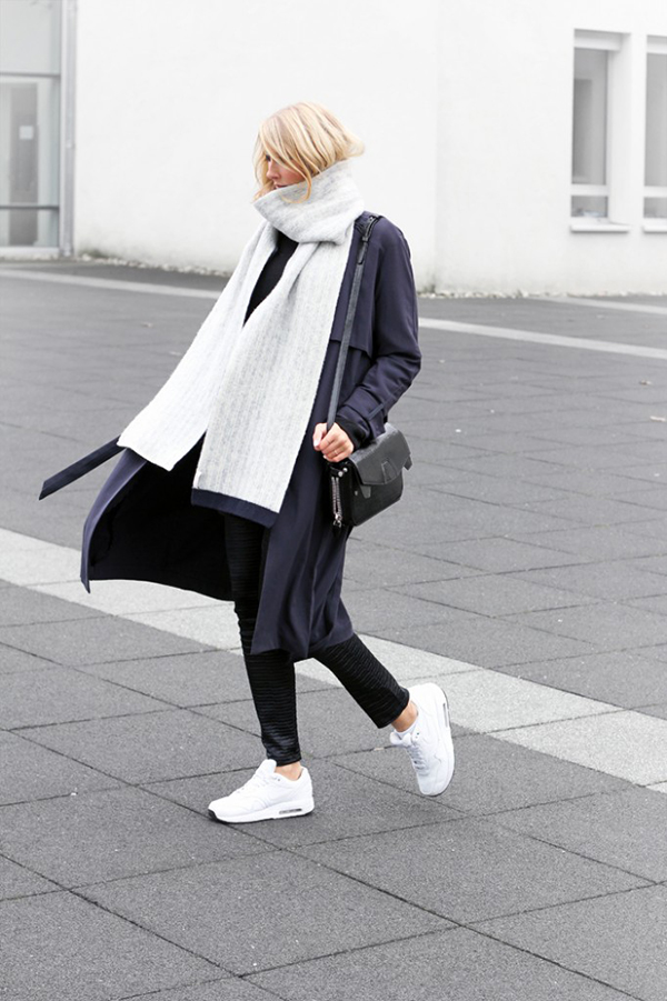 RED REIDING HOOD: My top 10 fashion blogs Joyce Croonen MyDubio Dutch Scandinavian Style blogger minimalism extra long scarf slouchy white nike air max outfit